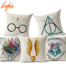 Hyha Harry Potter Cushion Cover Cotton Linen Goblet of Fire The Deathly Hallows Home Decorative Pillow Cover for Sofa Cojines