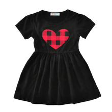 Wipalo Girl Dress Red Plaid Love Shape Children Clothes Preppy Style Girls Short Sleeve A-Line Heart Plaid Print Sweet Kid Dress(China)