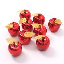 12Pcs/lot Red Golden Apples Christmas Tree Decorations Party Events Fruit Pendant Xmas New Year Hanging Ornament Wholesale