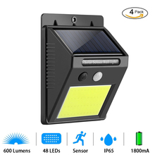 Buy 4PCS 48 LED Solar Panel Motion Sensor Solar Lamp Outdoor Garden Solar Power Wall Lamp Rechargeable Energy Security Light Pathway for $8.99 in AliExpress store