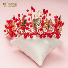 High Quality Red Crystal Beads Crown Women Golden Leaf Hairband Bridal Tiara handmade rhinestone wedding accessories Gifts yiqin(China)