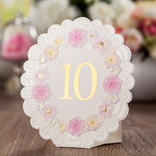 Elegant White color Wedding Table Place Card pink lace flower With Table Numbers