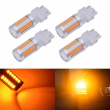 Katur 4x 3157 Led Car Light 5630 SMD 33 Led Bulbs T25 Double Contact Camper Brake Backup Stop Tail Light White Red Amber Blue(China)