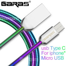 GARAS Type C Cable Metal Spring Data/3A Fast Charging Mobile Phone Cables For iPhone USB Type C/Micro USB/For Lightning Cable(China)