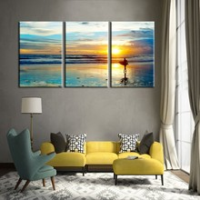 3 Piece Decor Artwork Canvas Print Beautiful Sunset Beach Modular Picture on the wall Seascape Canvas Art Frame Paintings Prints