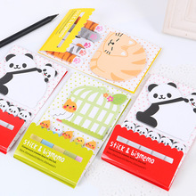 2 PCS Animal Cat Panda Cute Kawaii Sticky Notes Post It Memo Pad School Supplies Planner Stickers Paper Bookmarks