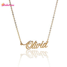 "AOLOSHOW Letter Necklace for Women Letters Name Necklace "" Olivia "" Gold & Silver color Nameplate Statement Necklace ,NL-2420"