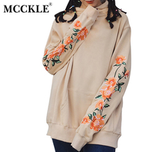 MCCKLE Autumn Women Long Hooded Sweatshirt Embroidery Flower Long Sleeve Loose Big Pocket Female Pullover Drawstring Hoodies(China)