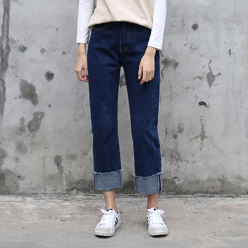 Loose Dark-blue Boyfriend Jeans Woman Straight Leg Denim Pants Ankle Length Cuffs Hem Students Jeans Femme Spring Casual PantsОдежда и ак�е��уары<br><br><br>Aliexpress