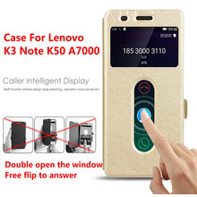 New Fashion For Lenovo K3 Note Case Leather Stand Cover For Lenovo K3 Note K50 A7000 Double View Window Phone Cases Accessories(China)