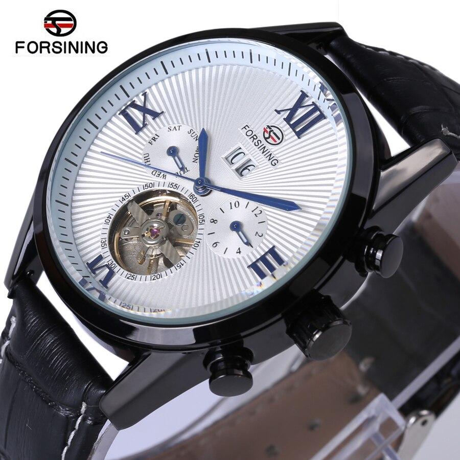 Forsining Men Tourbillon Automatic Mechanical Watch Mens Watches Top Brand Luxury Genuine Leather Wristwatch relogio masculino<br>