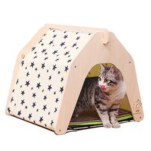 Star Printing Ger Design Pet Kennels,Summer DIY Wooden Dog or Cat Play Tent Wood Soft Dog Play House Indoor for Small Dogs Bed