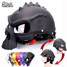 Black Skull Motorcycle Helmet Dual Use Half Face Capacetes Casco Novelty Retro Classic Vespa Adult Men Women Clear Sunvisor Lens(China)
