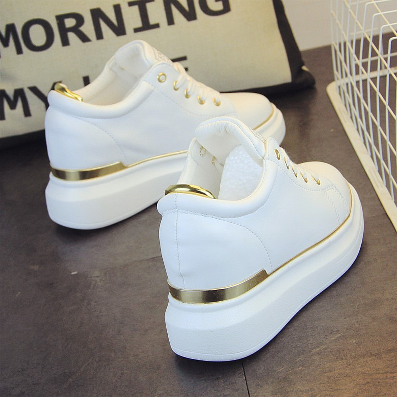 SWYIVY White Casual Shoes Female 2019 Spring New Wild Student Shoes Increased Platform Gold Sneakers Casual Chunky Footwear Lady