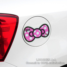 Hello Kitty Car Stickers Colorful Bowknot Leopard Print Lovely Cartoon Decals Cover Scratches Auto Tuning Waterproof 13*8cm D10(China)
