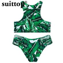 suittop Bikini 2017 New Sexy Swimming Suit Push Up Summer Swimsuit Green Leaf Print Bandage Low Waist Bikini Set Swimwear Women(China)