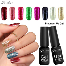 Saroline Platinum Gold Gel Lacquer Luck 12 Color Shimmer Glitter Nail Gel Polish Soak Off 3D Paint Fingernails Gel Nail Polish(China)