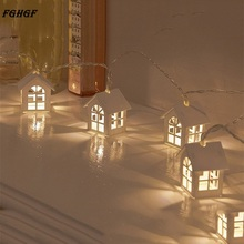 Wooden Warm House Shaped String Light 1.65M 10LED Battery Powered LED String Light for Room Wedding Garden Decoration