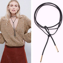 N824 2017 New Black Suede Leather Cord Necklace Fashion Long Bow Choker Statement Necklaces for Women Collier Bijoux Collares
