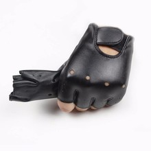 Cool youngerBoy Girl Leather Fingerless Gloves Kids Children Half-finger Black Mittens for 5-13 years old child