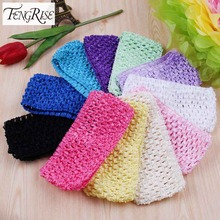 FENGRISE 11 Pieces Crochet Headband Baby Shower Tulle Spool Tutu Stretchy Elastic Sewing Lace Fabric Wrap Cotton knit Accessorie