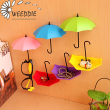3Pcs Colorful Umbrella Wall Hook Key Hair Pin Holder Organizer Decorative Free Shipping