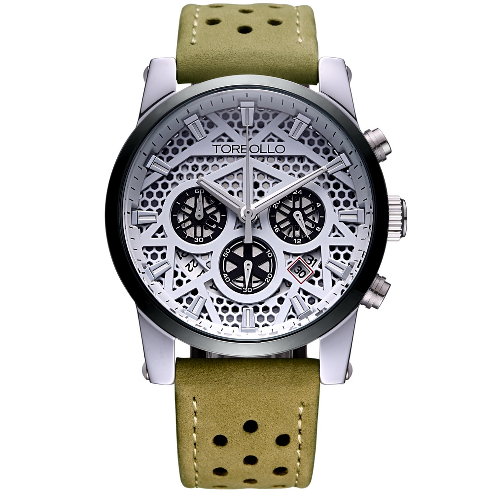 High Quality Original Brand Leather Dress Mens Watch Men Green White Chronograph Clocks Water Resistant<br><br>Aliexpress