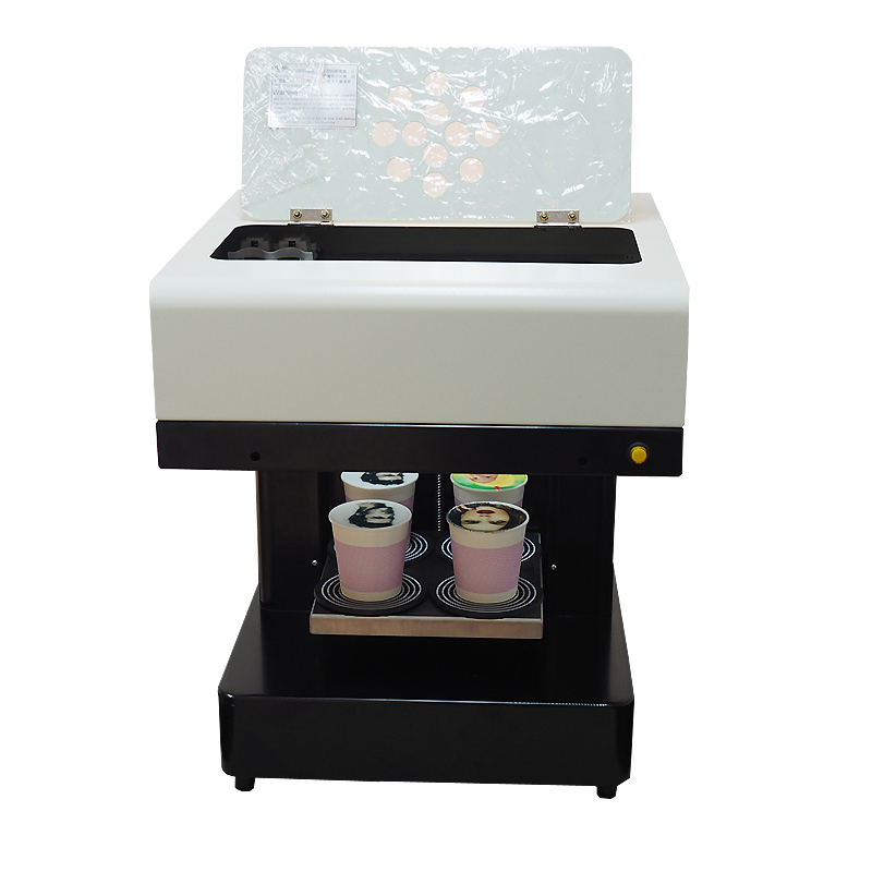 Super quality   Automatic 4 cups   coffee printer Food printer for macaroon ,cupcake etc print