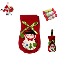 New Merry Christmas Xmas Dinner Party Table Decor Snowman Wine Bottle Bag Cover