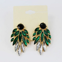 H:HYDE Green crystal earrings Gold Color Pink Green Black Dangles Earrings for women CZ Stone brincos boucle d'oreille