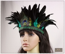 2017 New Hot Sale Women Adult Fashion Headbands Dot Dy Indian Style Peacock Feather Headdress Ornaments Head Hoop