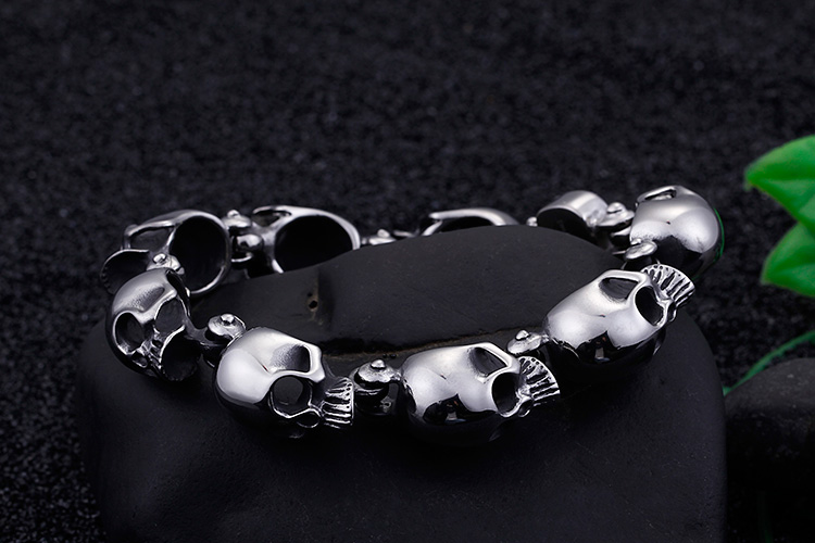 Cycolinks Punk Skull Bracelet Men's Biker Gift for Fathers Day Birthday