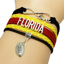 Infinity Love Florida Baseball Team Bracelets Leather Suede Rope Charm Customize Friendship Wristband Women Bangle