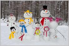 7x5FT Snow Forest Balk Trees Trunks Colorful Snowman Kids Children Custom Photo Studio Backdrop Background Vinyl 220cm x 150cm(China)