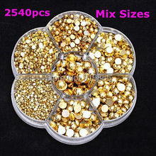 Sales!2540Pcs Gold Mixed 2-8mm With Box Packing Craft ABS Imitation Pearls Half Round Flatback Pearls Resin Beads For DIY Deco(China)