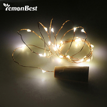 2m 20-LED Copper Wire String Light with Bottle Stopper for Glass Craft Bottle Fairy Wedding Decoration guirlande lumineuse led
