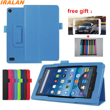 Litchi Skin PU Leather Stand Folio Case For New kindle fire HD7 2015 7 inch Luxury Flip tablet Case Cover+Stylus+Protective Film