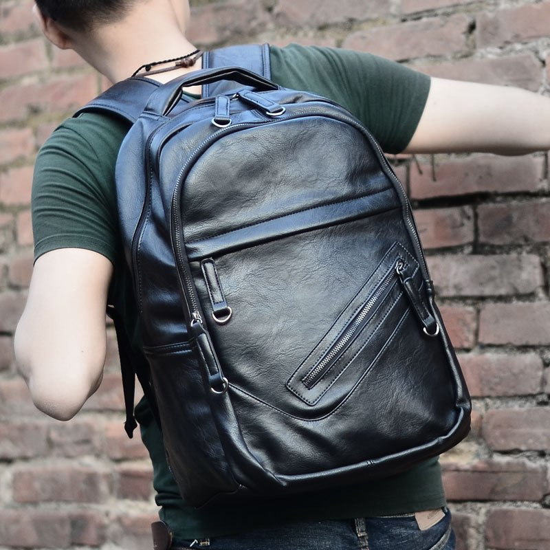 Men Bag Leather Mens Backpack Male Natural Leather Laptop Computer Bags Waterproof Travel Bag School Bags Free Shipping<br>
