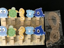 30pcs Ocean Cute Wooden Clips,Bookmark Memo Wooden Pegs,Pin Clothespin Craft Stationery for Children's Birthday Party Gift Favor(China)