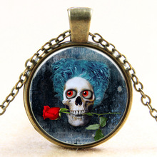 5pcs Rose Skeleton Necklace, Gothic Style, Halloween Jewelry, Flower Necklace, Skull Pendant, Special Gift for Friends