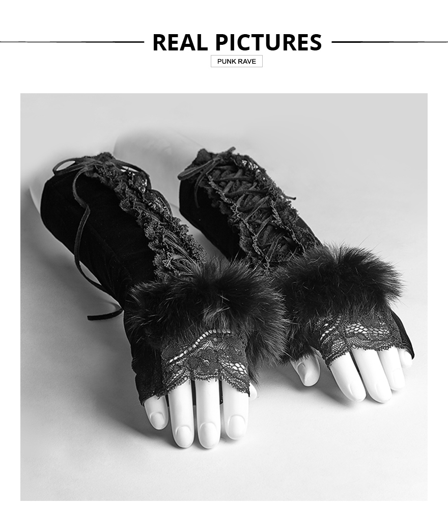 Skull and Roses Black Knitted Fingerless Gloves Gothic Punk Rock Hand Warmers
