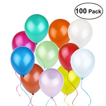 100pcs 12 Inch Assorted Bright Color Latex Balloons Party Bride New Year Wedding Balloon Celebration Party Decorate Balloon(China)