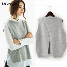 Litvriyh primavera otoño mujer pullovers chaleco mujeres suéteres y pullovers mujer cashmere suéter hembra de punto ropa del chaleco(China)