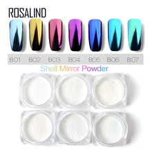 1 box Shell Nail Mirror Powder Nail Glitters Blue Purple Pigment Dust Manicure Nail Art DIY Chrome Decorations(China)