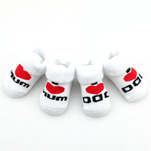 Cotton Mini Cute Baby Socks for Girl Boy Love Dad Love Mum Newborn Kids Socks Toddler Bebe Floor Bedding Socks Baby Cheap Stuff(China)