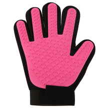 Pink Pet Dog Brush Glove True Touch Deshedding Glove Gentle Efficient Pet Groomin Bathing Cleaning Glove Comb Rubber Right Hand