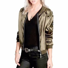 Womens Bomber Jacket Ladies Classic Padded Jackets Zip Up Biker Coat Brand Stylish Stand Collar Jacket Slim Fit Outerwear Coats