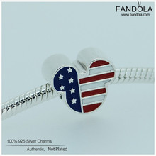 Fits Pandora Charm Bracelets 100% 925 Sterling Silver Mouse USA Beads Mixed Enamel Charm DIY Jewelry Making for Women