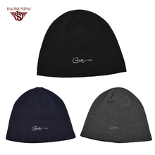 2016 New Arrival Knitted Striped Winter Mens Caps Customizable Embroidery Hats Solid Color Skull Hat Mens Beanie 3 Colors CX013(China)
