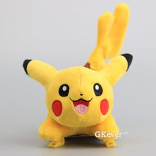 "Anime Pikachu Red Mouth Plush Toys Dolls Pikachu With Claw Clips Soft Dolls Funny Tricks Toys 7"" 18 CM"